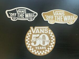 """VANS """"Off the wall"""" stickers x 3 (2 skateboard stickers & 50 Years sticker)"""