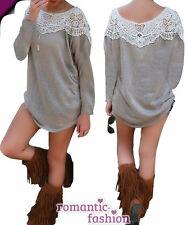♥ Taille 34,36-38,40,42 Chemise Longue, Mini-robe, tunique, pull en gris +neu+b586 ♥