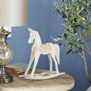 Old Fashioned Carved Wood Rocking Horse Sculpture Vintage Style Statue Figurine
