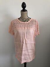 J. Crew Linen Lace T-Shirt Blouse Size 10 Peach 100% Linen Top Vacation Wear