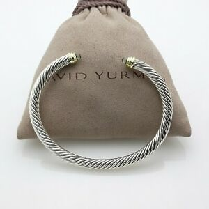 David Yurman 5mm Cable Classics Bracelet with Prasiolite and 14K Gold size Small