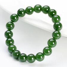 10mm Natural Grade Green Jade Jadeite Round Gems Beaded Bangle Bracelet 7.5''
