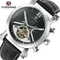 FORSINING Men Luxury Tourbillon Self-Wind Mechanical Wrist Watch Day Display