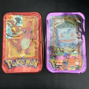 x2 EMPTY 1999 Pokemon Topps TV Animation Edition Tin USED (Charmander/Bulbasaur)