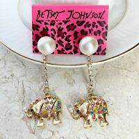 Betsey Johnson ELEPHANT Earrings Dangle Drop Rhinestone with Pearl Stud NEW
