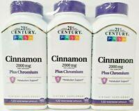 21st Century Cinnamon 2000mg Plus Chromium 120ct Caps- 3 Pack -Exp Date 05-2021-