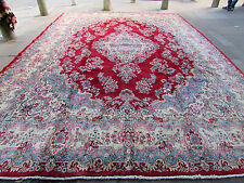 Old Traditional Hand Made Persian Rug Oriental Red Blue Wool Carpet 485x355cm