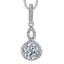 Sterling Silver CZ Infinity Solitaire Pendant Necklace Formal Bridal Wedding
