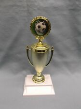 soccer theme insert trophies award cup weighted white base