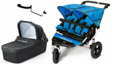 New Out n About nipper 360 double pushchair v4 Lagoon blue with 1 carrycot & pvc