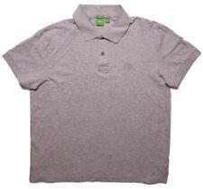 HUGO BOSS Short Sleeve Polo Shirt Logo Cotton Gray XXL 2XL Modern Fit