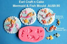 Mermaid & Fish  Silicone Mould  Cake Decorating Gum Paste Sugar Cupcake Topper