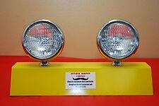 """5"""" Round Clear  Fog Lights Vintage Pair Antique 12V"""