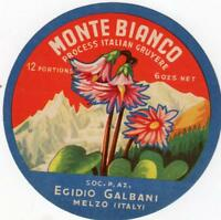 ORIGINAL VINTAGE  ITALIAN CHEESE LABEL - MONTE BIANCO PROCESSED GRUYERE