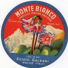 ORIGINAL VINTAGE  ITALIAN CHEESE LABEL - MONTE BIANCO PROCESSED GRUYERE