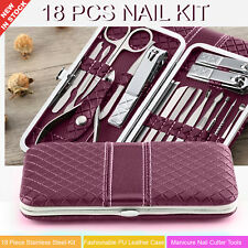 18pc Nail Cutter Kit Manicure Pedicure Set Stainless Steel Clippers Cutter AU