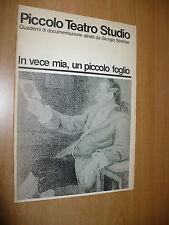 PICCOLO TEATRO STUDIO IN VECE MIA UN PICCOLO FOGLIO GOETHE VALERIA MORICONI 1988