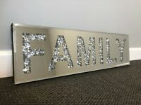 Large Bling Crushed Crystal Mirror FAMILY Wall Art Plaque Home Decor Word Deco