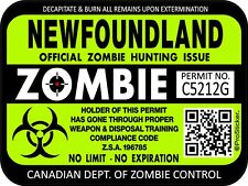 Canada Newfoundland Zombie Hunting License Permit 3x4 Decal Sticker 1308