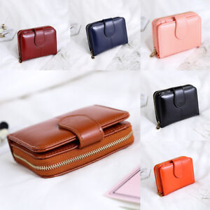 Women Ladies Waxed Leather Short Wallet Small Coin Purses Card Holder Zipper New
