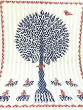 TREE OF LIFE KANTHA QUILT BEDSPREAD COTTON HANDMADE INDIAN BLANKET KING SIZE