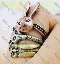 3 Animal Anillos vintage latón rabbit/fox/owl Cobre Antiguo Kitsch Anillo De Plata Ox