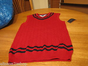 Boys XL 20 youth red NEW Tommy Hilfiger sweater vest pull over V neck sleeveless