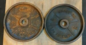 Vintage Marcy Co Olympic Deep Dish 45 Pair Pound LB 2x45 Los Angeles Plates