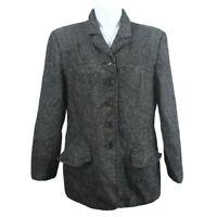 Pendleton Womens Career Jacket Blazer Size 8 Wool Blend Black & White Lined
