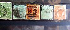 5 Antique Australian States Stamps Tasmania ,Victoria,S Australia, Queensland &