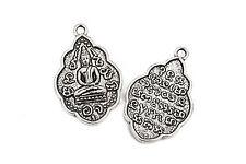 2 THAI BUDDHA charms, silver, religious icon, 42x26mm chs2737