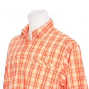 World Wide Sportsman Vented Orange White Plaid Fishing Hiking Shirt Mens Medium