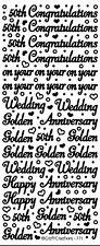 Golden Wedding Anniversary 50th Peel Off Stickers Card Making Scrapbook Craft