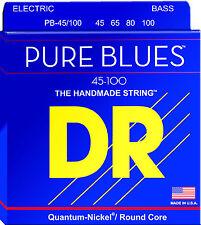 DR PB-45/100 PURE BLUES QUANTUM-NICKEL BASS STRINGS, MED/LT GAUGE 4's  45-100