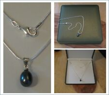 New black real fresh pearl pendant necklace with silver chain in green gift box