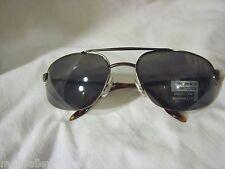 Foster Grant GunMetal Aviator Sunglasses Tinted Gray Lenses Half Rimless Frame
