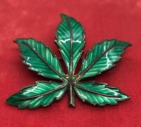 NORWAY BERNHARD MELDAHL 925S ENAMEL MAPLE LEAF PIN BROOCH VTG STERLING SILVER