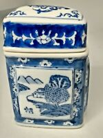 Hand Painted Chinese Porcelain Rectangular Ginger Jar White and Blue