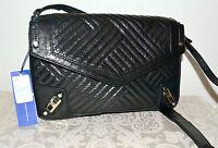 "NWT $425 REBECCA MINKOFF Lg ""MAYMAY"" Black Glazed Quilted Leather Shoulder Bag"