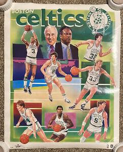 Vintage 1986 Illustrated Boston Celtics Poster 22X28 In Tube Nice Big 3 Era