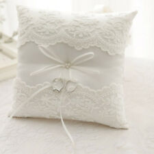 Wedding Ring Pillow Satin Lace Floral Flower Bearer Cushion Throw Ivory White