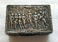 Antique Art Nouveau 800 Silver Snuff Or Pill Box Nudes