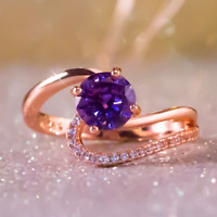1.6ct Round Cut Purple Amethyst Engagement Ring 14k Rose Gold Finish Solitaire