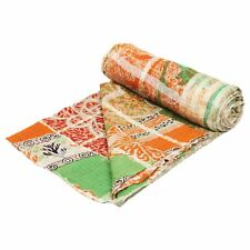 GD032 Indian Handmade Quilt Vintage Kantha Bedspread Throw Cotton Blanket