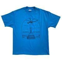 Vtg 90s Erickson Air-Crane 1993 Blue Single Stitch T-Shirt Hanes XL USA Made