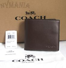 NWT COACH F75084 Men's Double Billfold Sport Calf Leather Wallet Mahogany $150