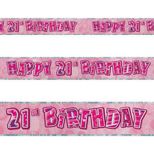9ft Happy 21st Birthday Pink Sparkle Prismatic Party Foil Banner Decoration