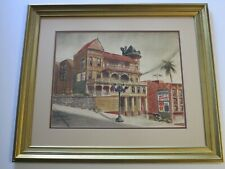 ANTIQUE VINTAGE PAINTING SIGNED MARSHALL AMERICAN REGIONALISM HISTORIC OLD HOMES
