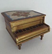 Vtg Grand Piano Italian Florentine Guild Wood Music Musical Jewelry Box RARE!