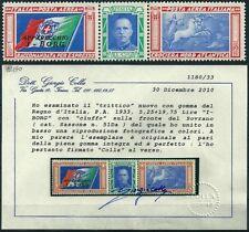 ** Italia 1933 Regno: TRITTICO CROCIERA I-BORG [Varietà CIUFFO; MNH VF] € 2.500
